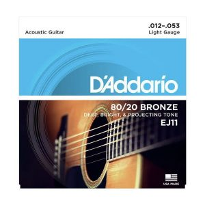 Corzi chitara acustica D'Addario EJ11 80/20 Bronze Light 12-53
