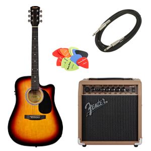 Set chitara electro-acustica Fender SA-105 sunburst
